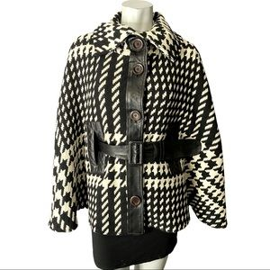 Mackage Dulcia Wool Houndstooth Cape with Leather Belt and Accents Size XS